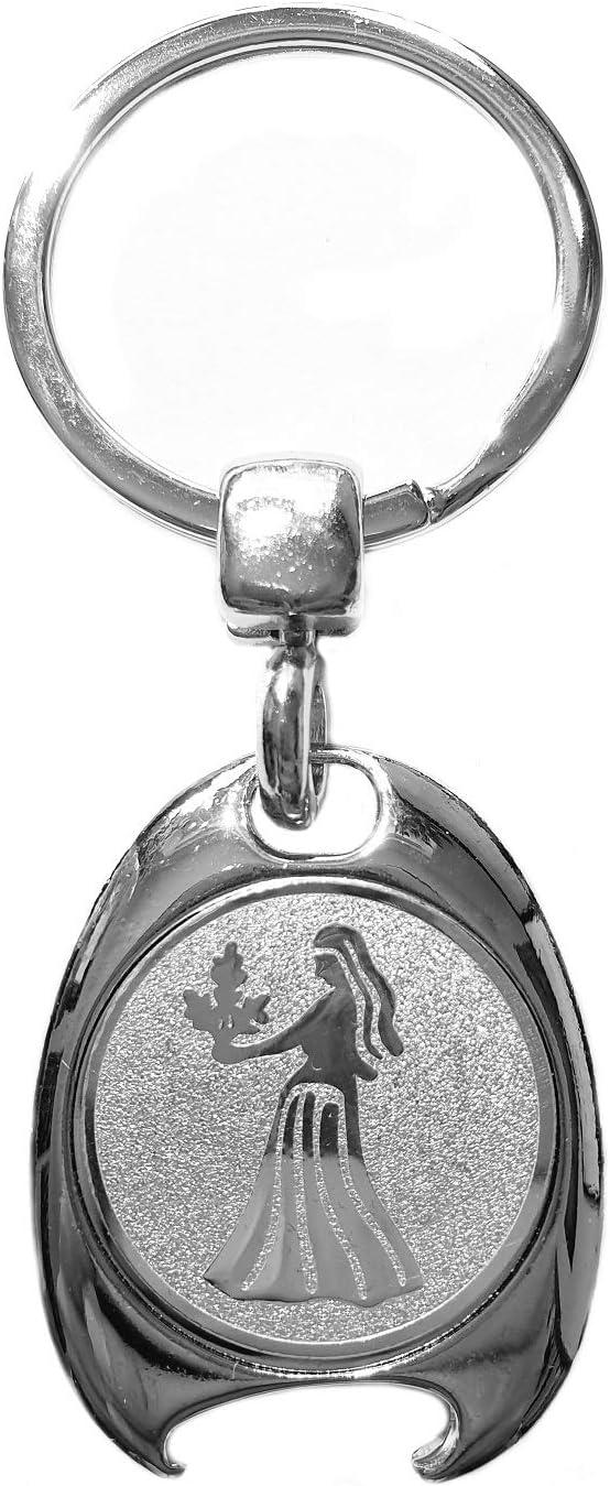 in confezione regalo elegante con gettone per carrello della spesa e apribottiglie Portachiavi con segno zodiacale Vergine in argento