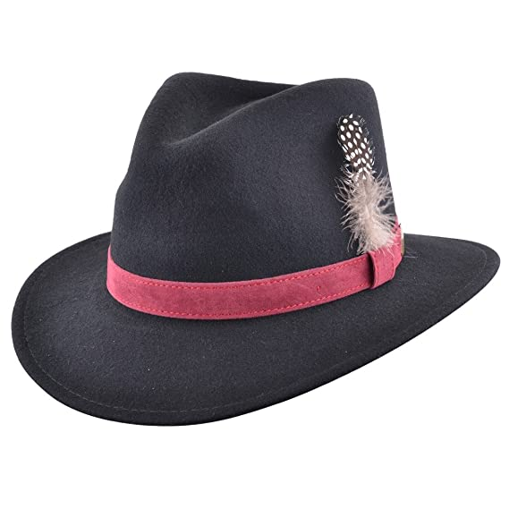 0f137539fa00 Mens Fedora Hat with Velvet Band and Feather Pin. 100% Wool with Inner  Cotton Sweatband  Amazon.co.uk  Clothing