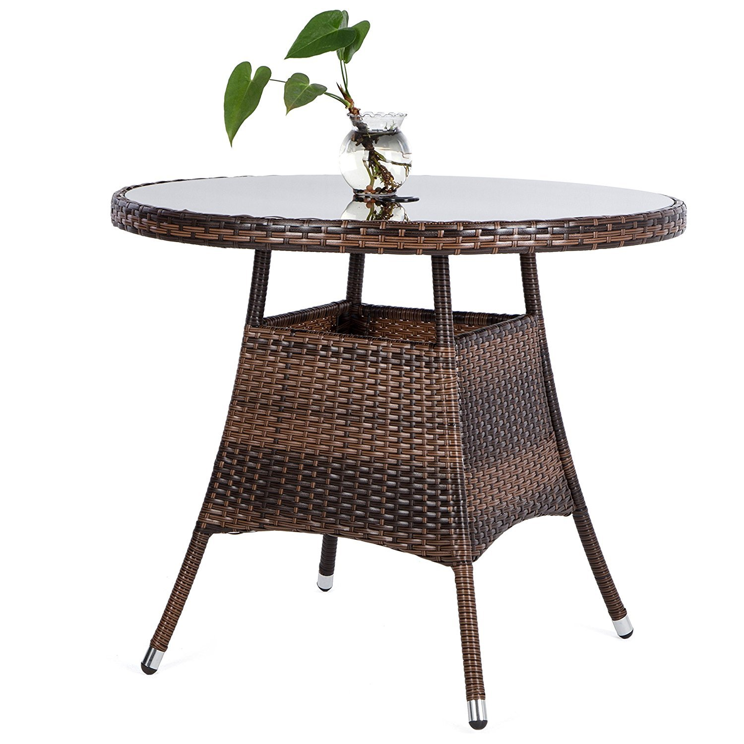 Dining Tables Smonter 36 Round Patio Pe Brown Wicker Dining Table Tempered Glass Top Umbrella Stand Table Outdoor Furniture Garden Table For Backyard Pool Balcony Porch Brown Patio Lawn Garden Fenz Si