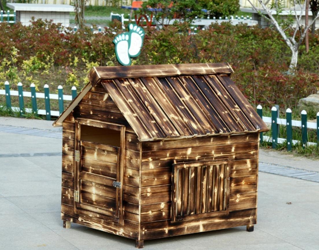 Haustier-Haus-Hundehaus Haustierbedarf Klein Mittel Groß S, M, L, XL, XXL Holztyp Hundehütte Tore, Fenster auf beiden Seiten