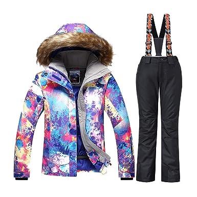 743c91b7e4 GS SNOWING Women Colorful Ski Suit Snowboard Jacket + Pant ( 1409-Black