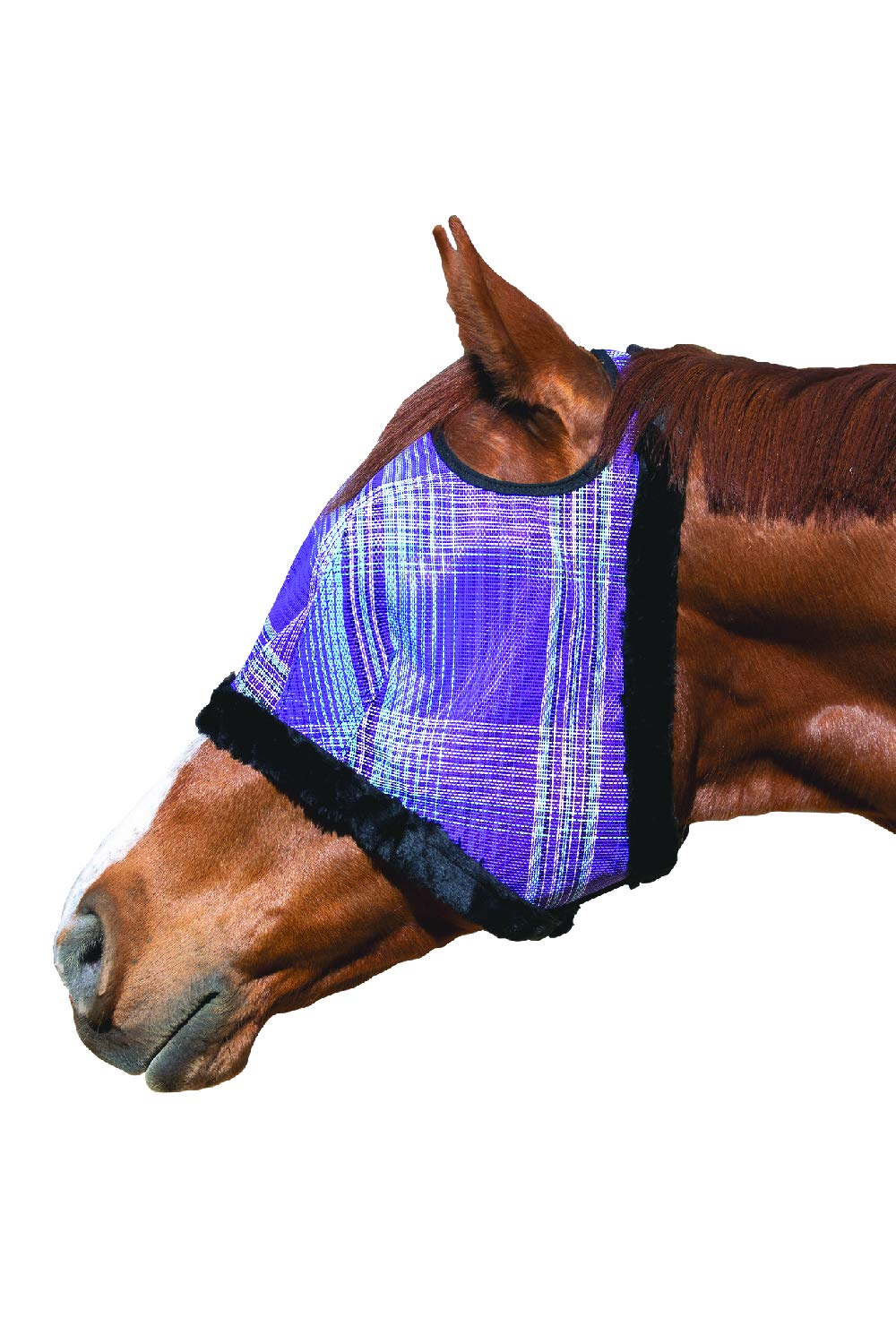 Kensington Fly Mask Fleece Trim for Horses - Protects Face, Eyes from Flies, UV Rays While Allowing Full Visibility - Breathable Non Heat Transferring, Perfect Year Round, (XXL, Lavender Mint)