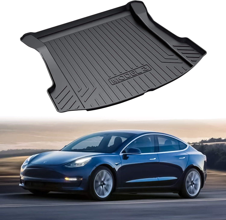EBESTauto Trunk Mat Customized for Tesla Model 3 2017 2018 2019 Rear Cargo Liner Floor Mat Black Rubber Waterproof