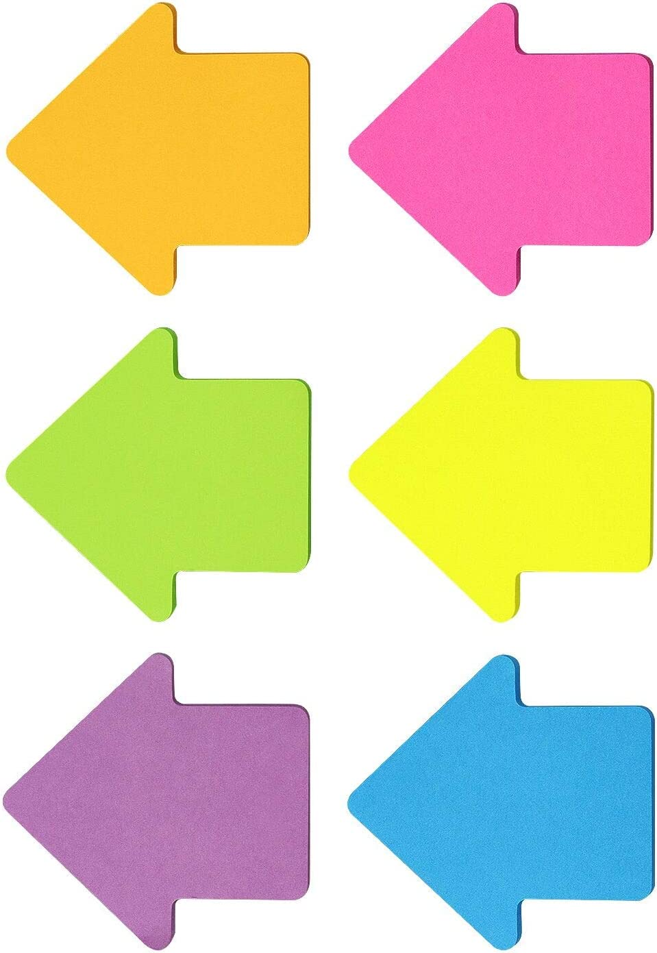 Arrow Shape Sticky Notes 6 Color Bright Colorful Sticky Pad 75 Sheets/Pad Self-Sticky Note Pads (6 Pads)