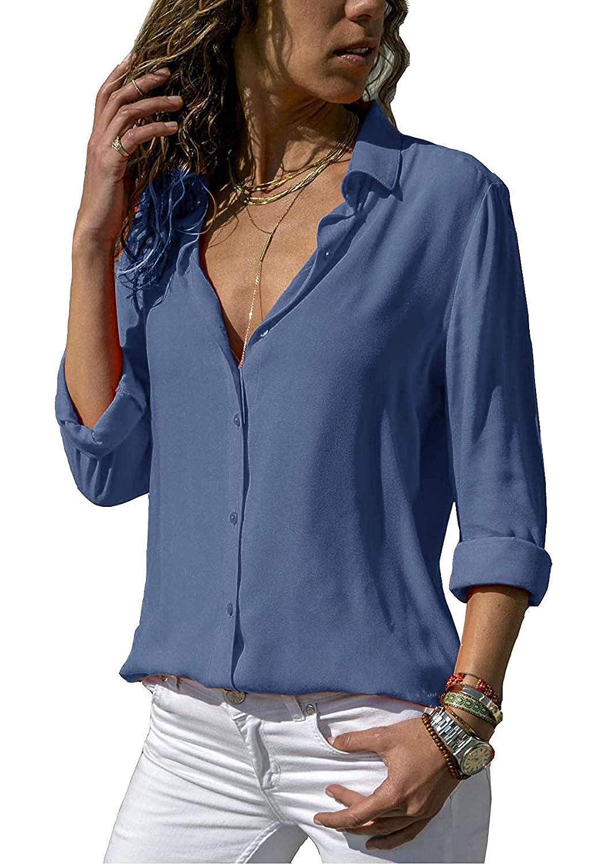 7833a5fa62ab9a 50%OFF ASKSA Damen Bluse Chiffon Elegant Langarm Oberteile Einfarbig  V-Ausschnitt Lose Hemdbluse