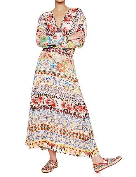 bb643697819e Desigual VESTITO LUNGO DONNA VEST BRIGITTE 18SWVW50 44 (xl) rosso   Amazon.it  Abbigliamento