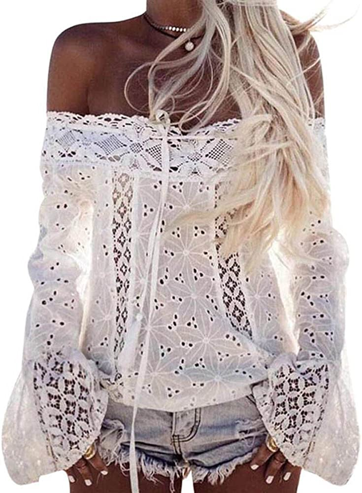 SUNNSEAN Blusa para Mujer, Color Sólido de Encaje ...