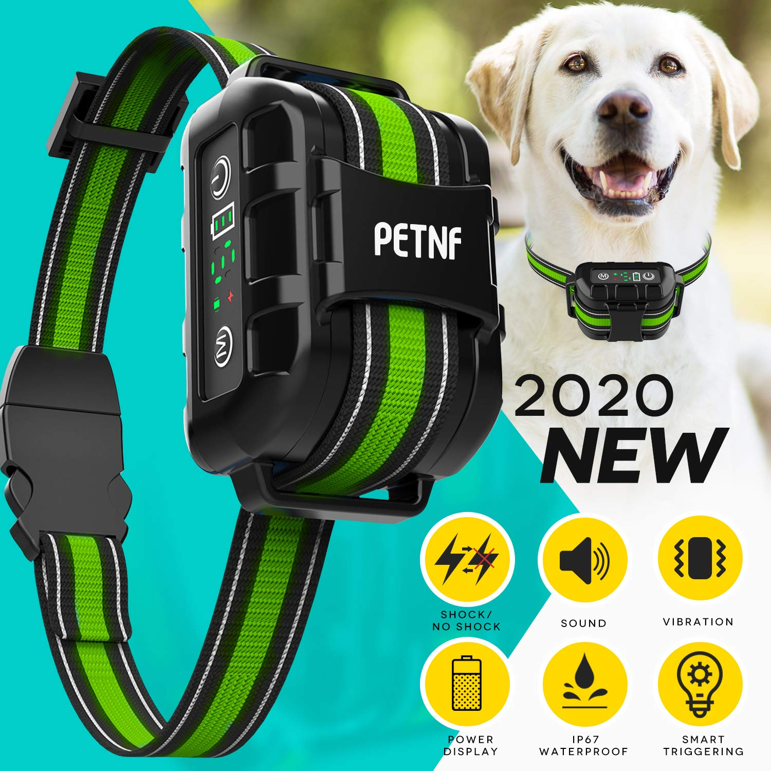 2020 Upgraded Bark Collar Large Medium Small Dog,Dog Barking Control Devices Deterrent,E collars for dogs,Rechargeable Waterproof Shock Collar for Dogs,Anti Barking Device for Dogs,Dog Shock Collar by petnf
