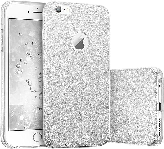 "Image ofCoovertify Funda Purpurina Brillante Plateada iPhone 6/6S, Carcasa Resistente de Gel Silicona con Brillo Gris Plata para Apple iPhone 6 6S (4,7"")"