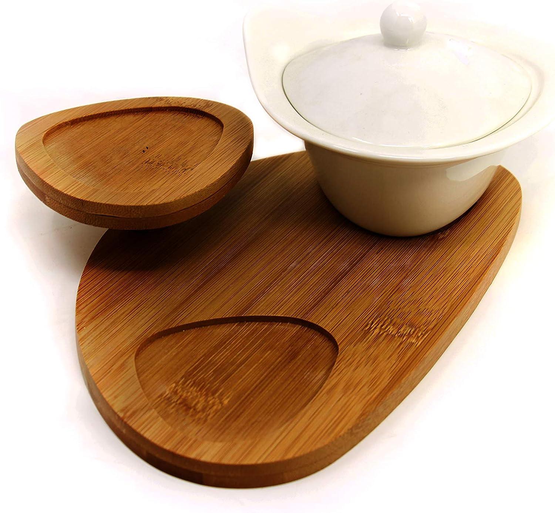 5 Teilig Frühstücksbrett mit Schalen Snackschalen Set aus Porzellan /& Bam