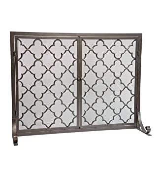 Amazon large steel geometric fireplace screen with doors large steel geometric fireplace screen with doors durable frame and metal mesh 44 w teraionfo