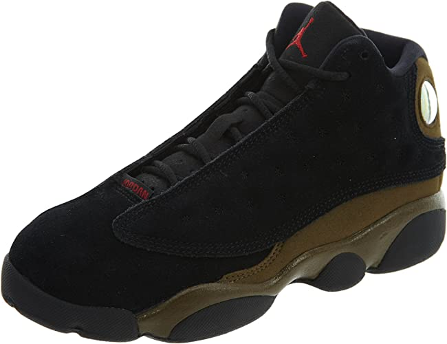 Jordan Air 13 Retro BG Big Kids Sneakers Black//Gym Red//Light Olive 884129-006 NIKE