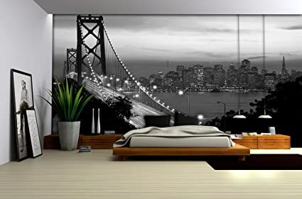 Black and White Golden Gate Bridge San Francisco City Wallpaper Mural