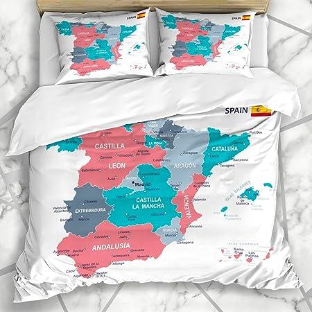 HATESAH Ropa de Cama - Funda nórdica Gobierno Azul Aragón España Mapa Gris Ubicaciones Islas Baleares Barcelona Provincias Vascas Diseño Microfibra Nuevo Set de Tres Piezas Funda de edredón 140 * 200: Amazon.es: Hogar