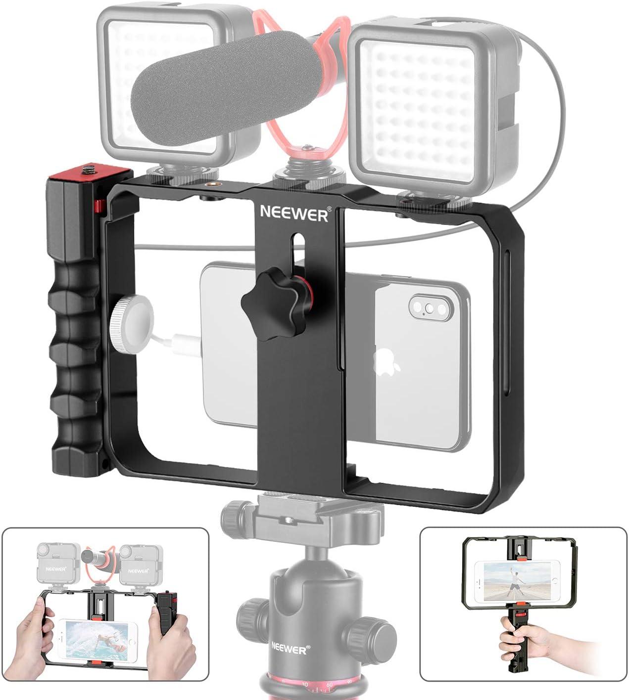 Neewer Smartphone Video Rig, Cassa per Cinematografia, Stabilizzatore per Smartphone Video, Treppiedi e Impugnatura per Ripresa di Video e Film, per iPhone 11 11 Pro 11 Pro Max X Xs HUAWEI Samsung