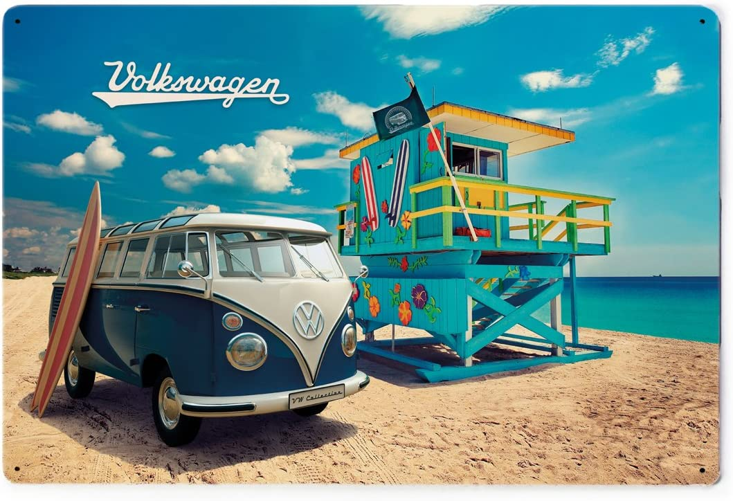 BRISA VW Collection - Volkswagen Retro Metal Sign with VW Samba Bus T1 Camper Van Vintage Design, VW Collector's Item, Gift Idea, Vintage Decoration (Beach Life/7.8x11.8 Inches)
