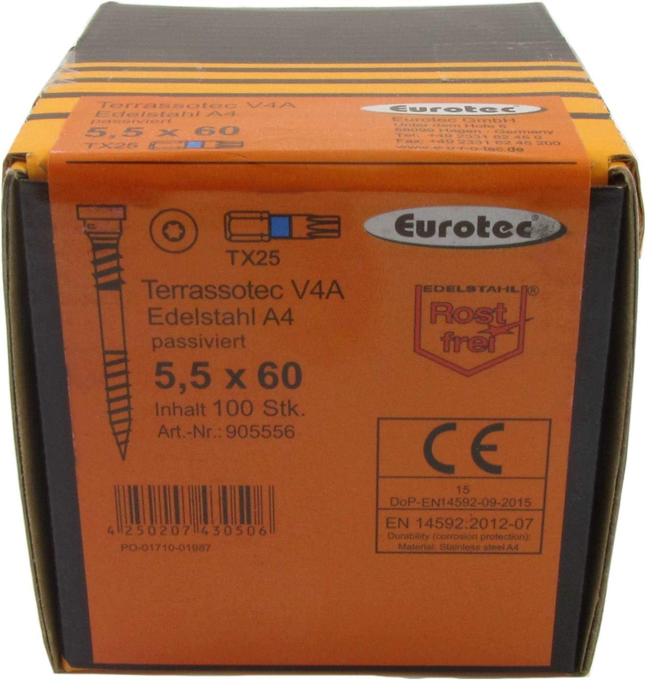 100 St/ück EUROTEC Terrassotec Trilobular V4A 5,5x90mm