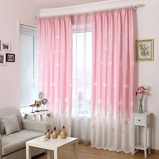 pureaqu Children Castle of Angle Print Curtains for Teen Girls Window  Decoration Thermal Insulating Semi Blackout Metal Grommet Top Curtains for  Girl ...