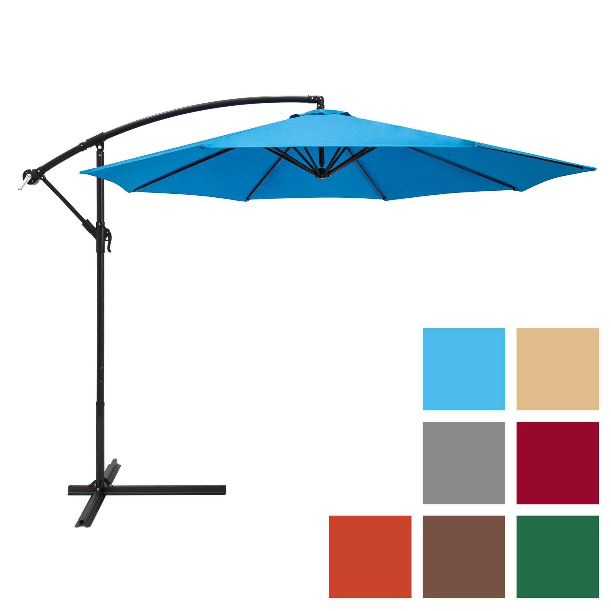 Best Choice Products 10ft Offset Hanging Outdoor Market Patio Umbrella w/Easy Tilt Adjustment - Blue by Best Choice Products