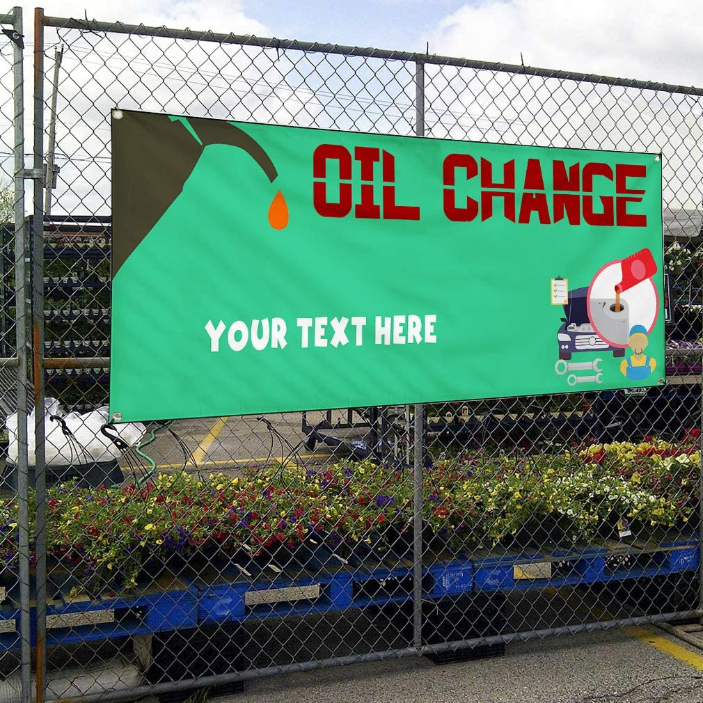 Custom Industrial Vinyl Banner Multiple Sizes Oil Change Style C Personalized Text Here Automotive Outdoor Weatherproof Yard Signs Brown 10 Grommets 60x120Inches