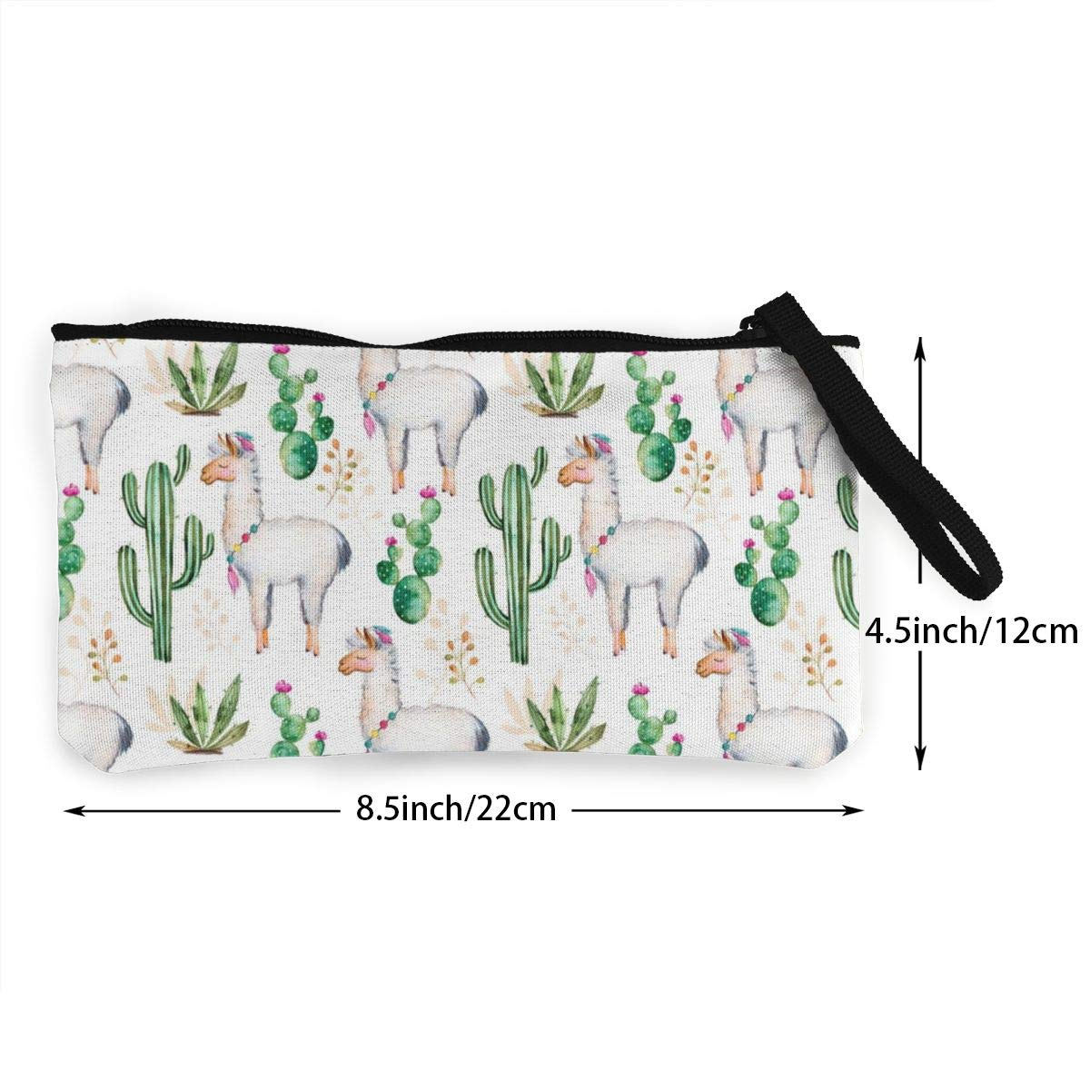 YUANSHAN Alpaca and Green Cactus Pattern Unisex Canvas Coin Purse Change Cash Bag Zipper Small Purse Wallets with Handle
