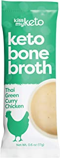 product image for Kiss My Keto Bone Broth Powder Travel Packets — Collagen Protein (10g) + MCT Oil (4g), 18 Amino Acids | Low Carb Thai Green Curry Chicken (15 Pack), Instant Bone Broth Soup — Single Servings