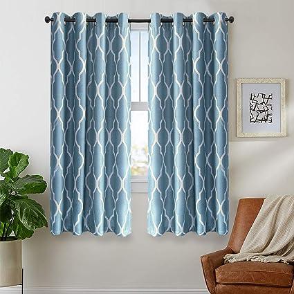 jinchan Blue Curtains 72 inch Long for Bedroom Home Linen Textured Living  Room Darkening Window Curtain 2 Panels Grommet Top Drapery Set Dark on Flax