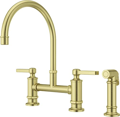 Pfister LG31-TDBG Port Haven Kitchen Bridge Faucet with Side Sprayer, Brushed Gold