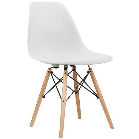 Charles & Ray inspiriert Eiffel DSW Retro Design Wood Style Stuhl für Büro  Lounge Küche – weiß (1)