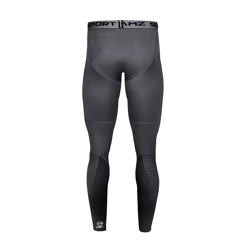 AMZSPORT Collants de Sport pour Hommes Legging /à S/échage Rapide sous Couche Pantalon de Training Pro