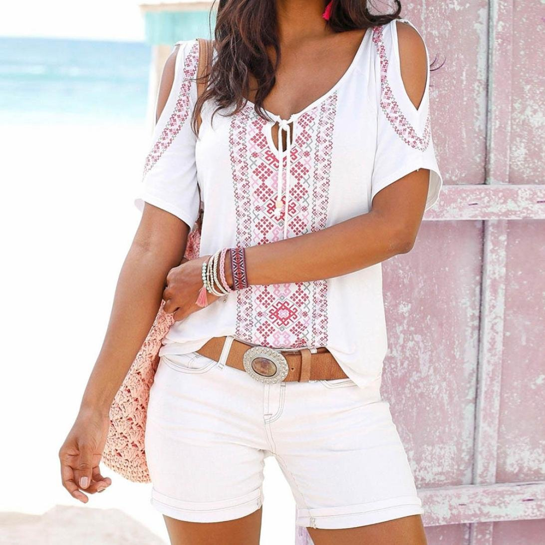 ❤️Tefamore Femmes /ét/é Imprimer manches courtes chemise Tops Blouse T-shirt