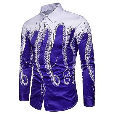 2a69ce0608f8 SHINEHUA Herren Langarmshirt, Herren 3D Bedruckt Tintenfisch Hemd Beiläufig  Lange Ärmel Slim Fit Oberteile Schaltfläche Down Bluse T-Shirt Pullover ...