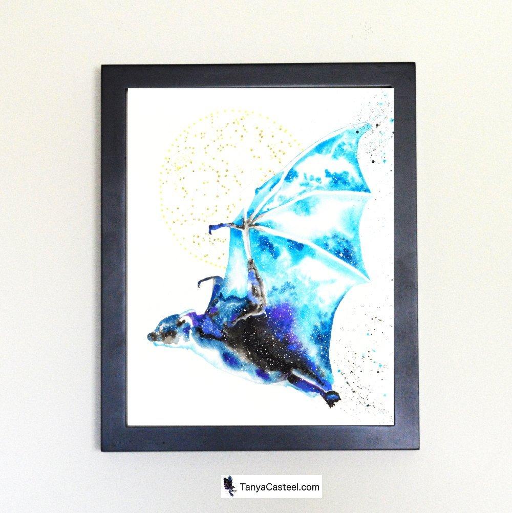 Bat Spirit Animal Art Print from Watercolor Painting