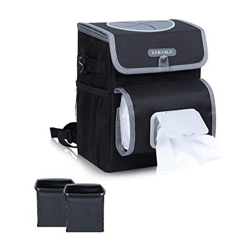 Farasla All-in-One Car Trash Can with 2 Removable Leakproof Interior Liners