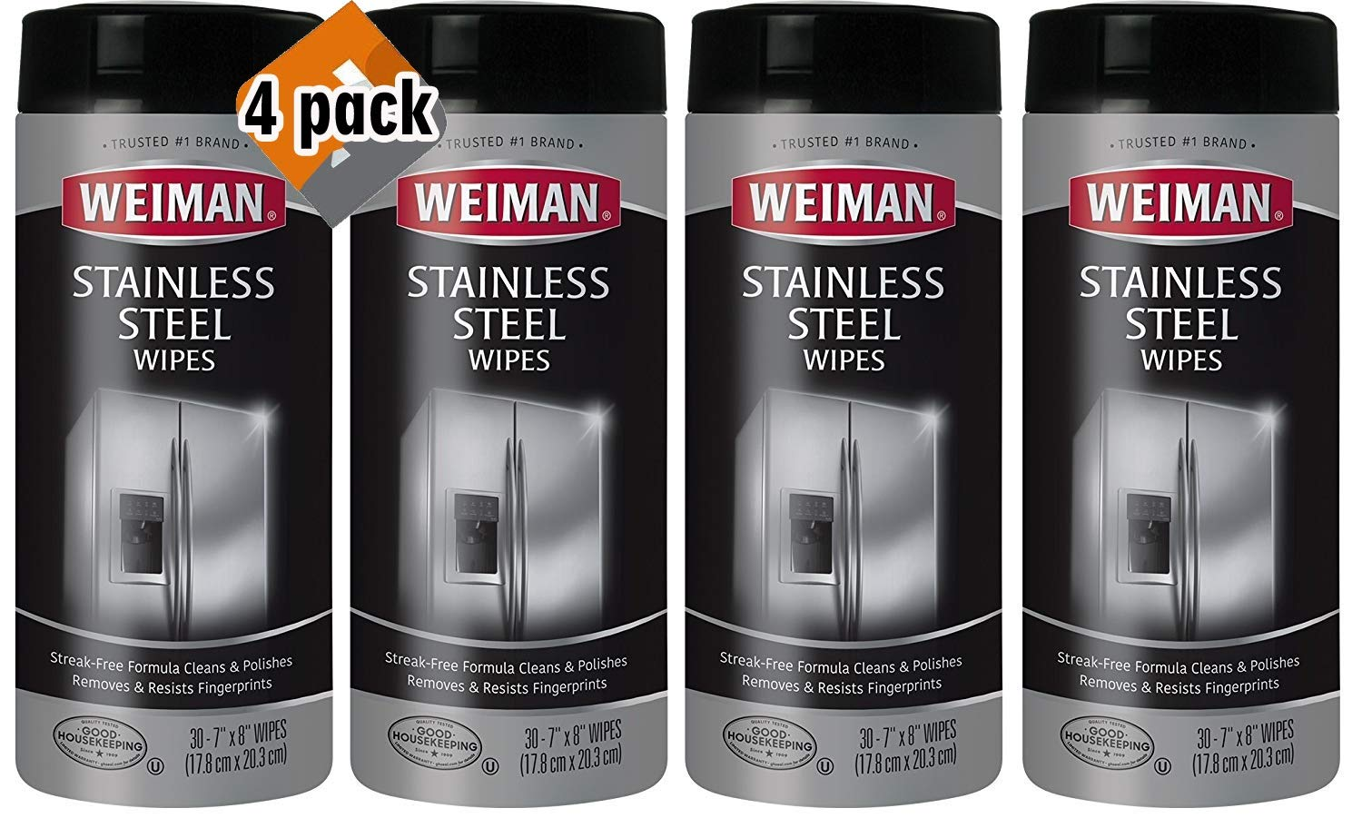 Weiman Stainless Steel Wipes - 4 Pack - Removes Fingerprints, Residue, Water Marks and Grease From Appliances - Works Great on Refrigerators, Dishwashers, Ovens and More - 30 Count, Case of 4