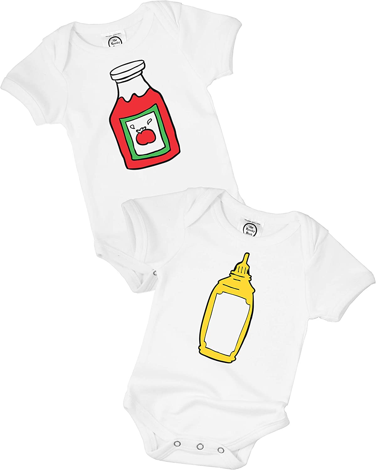 The Spunky Stork Baby Girl /& Boy Funny Newborn Twin Organic Bodysuit Gift Outfit