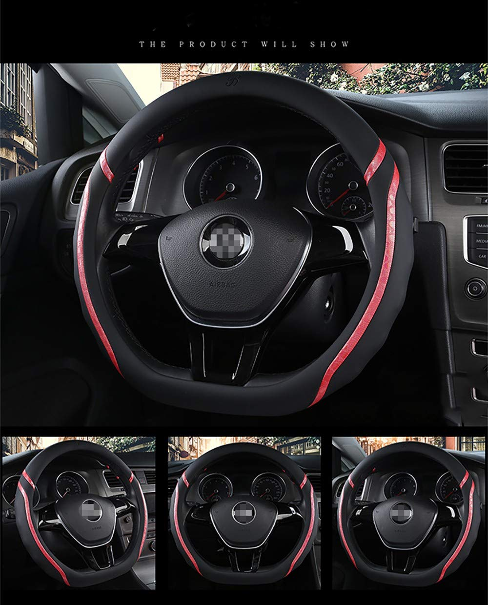 ZXZXZX-SteeringWheelCover Cubierta Volante De Coche, Cubierta del Volante del Coche Cubierta del Volante Tipo D Cubierta del Volante Antideslizante 38CM, Mango De Cuero InsíPido