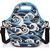 Neoprene Lunch Tote Bag for Women and Girls Kids with Detachable Adjustable Shoulder Strap for Work in Ocean Waves by Vaschy