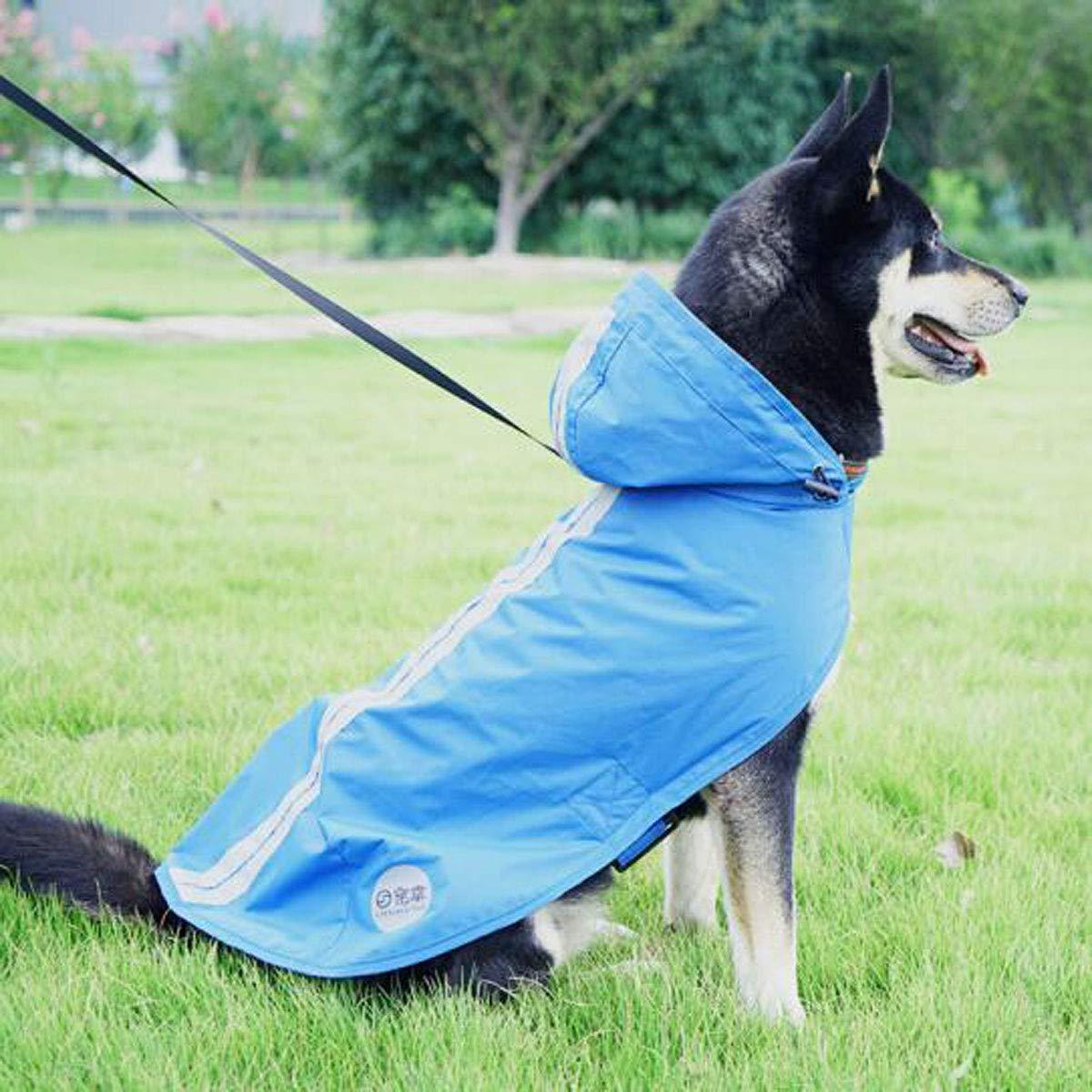 bluee L bluee L Jiansheng Pet Dog Waterproof Suit, golden Retriever Dog, Medium And Large Dog, Jacket Raincoat (color   bluee, Size   L)