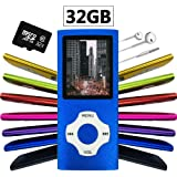 Wyne Technology Versatile & Portable 32GB Mini MP3 MP4 with Micro SD Card Music Player Sound Entry Hi-Fi Media Player Video Player FM Radio E-book Viewer Photo Viewer Voice Recorder (Blue)