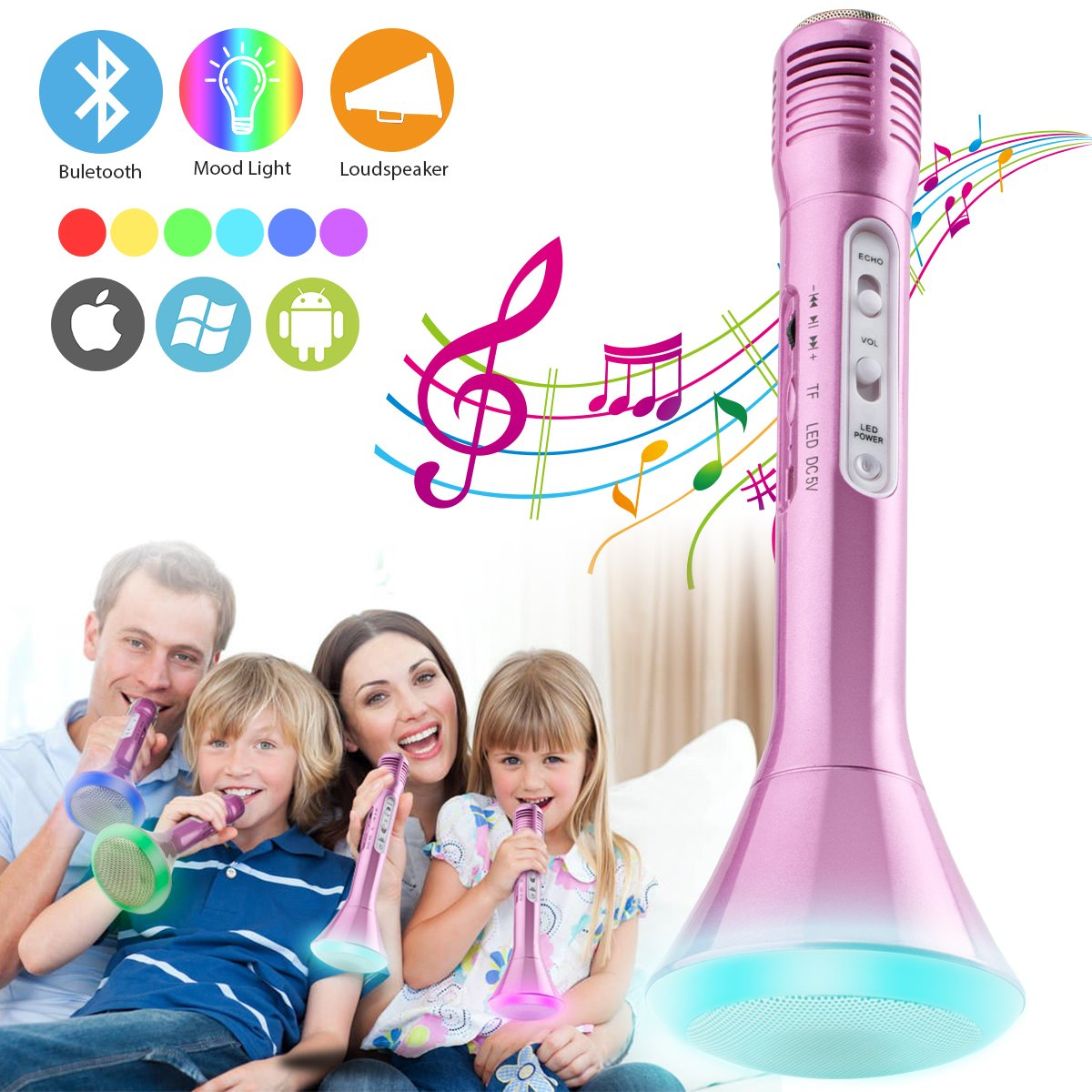 Luckymore Wireless Kids Karaoke Microphone with Bluetooth Speaker, Portable Handheld Karaoke Player for Home Party KTV Music Singing Playing, Support iPhone Android IOS Smartphone PC iPad (Pink)