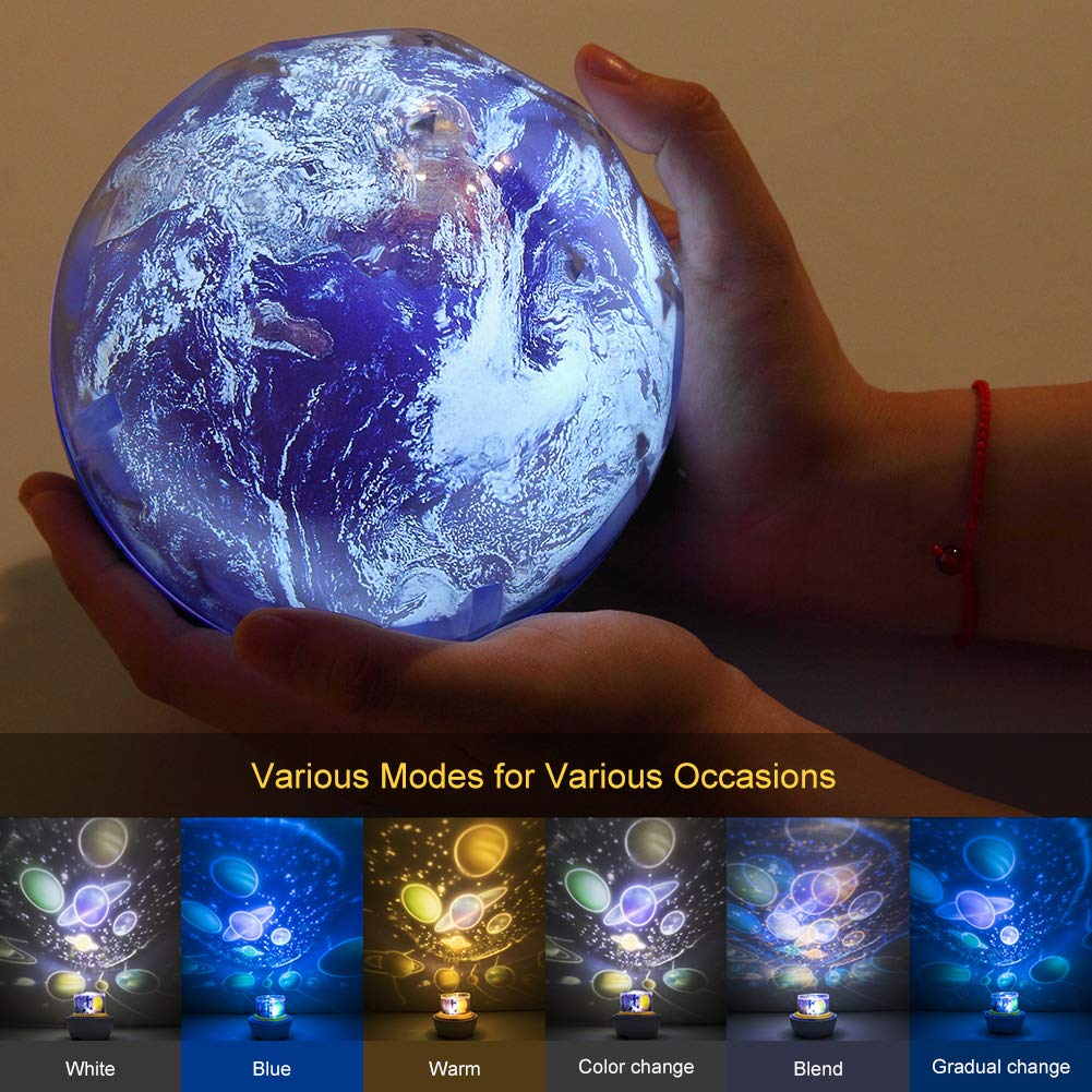Moon Solar System Ocean Earth Rotating Ceiling Night Light Birthday Gifts for Baby//Toddler Bedroom Universe Projector Planet Lamps 5 Sets of Films Star Night Light for Kids