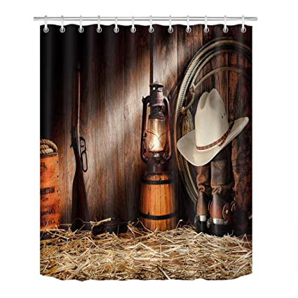 LB Cowboy Gear In Old Rustic Western Barn Shower Curtain For Stall Vintage American