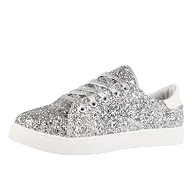 298a4ca60a98 ByPublicDemand Ally Womens Lace Up Thick Sole Glitter Trainers Silver  Glitter Size 6 UK / 39