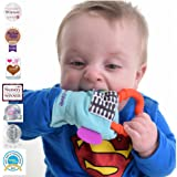 Gummee Glove Baby Teething Mitten for babies 3m+ with Detachable Teether Ring Toy and travel Bag Safe Premium Quality 100% Cotton Turquoise - Undroppable - Soothe Babies painful gums naturally Multi-Award Winning Product