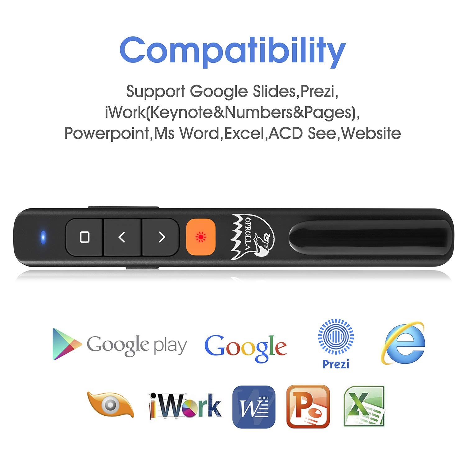 OPROLLA Wireless Presenter Hyperlink Multi-Media Volumn Control RF 2.4GHZ Powerpoint Clicker Slide Advancer Presentation Remote Clicker for Mac,Laptop (Powerpoint Clicker-Black 1200mah Li)