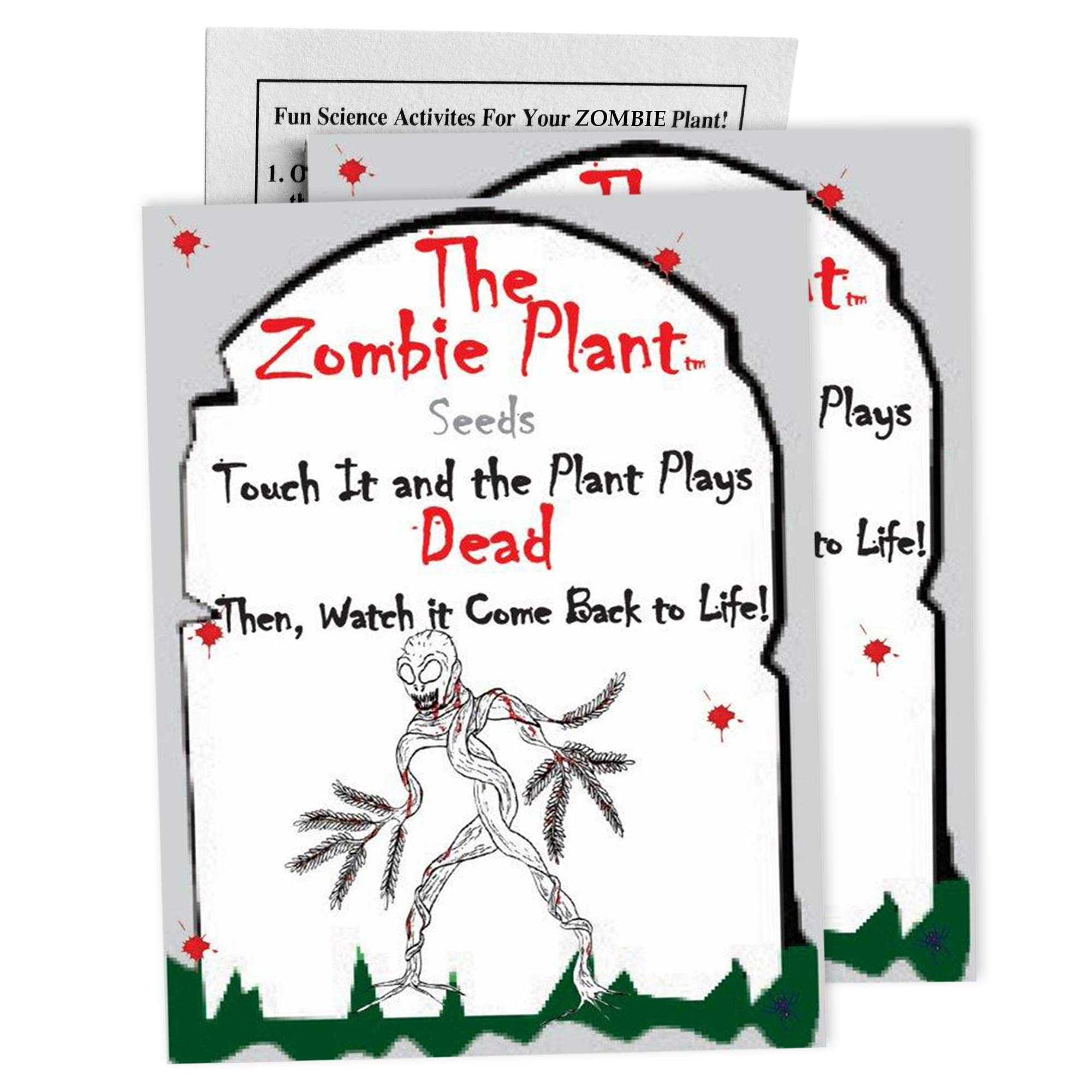 "Zombie Plant Seed Packets (2) - Unique Easter Egg Stuffer or Party Favor. Comes with Ten Fun Ideas to Do with Your Zombie Plant (It ""Plays Dead"" When You Touch It!)"