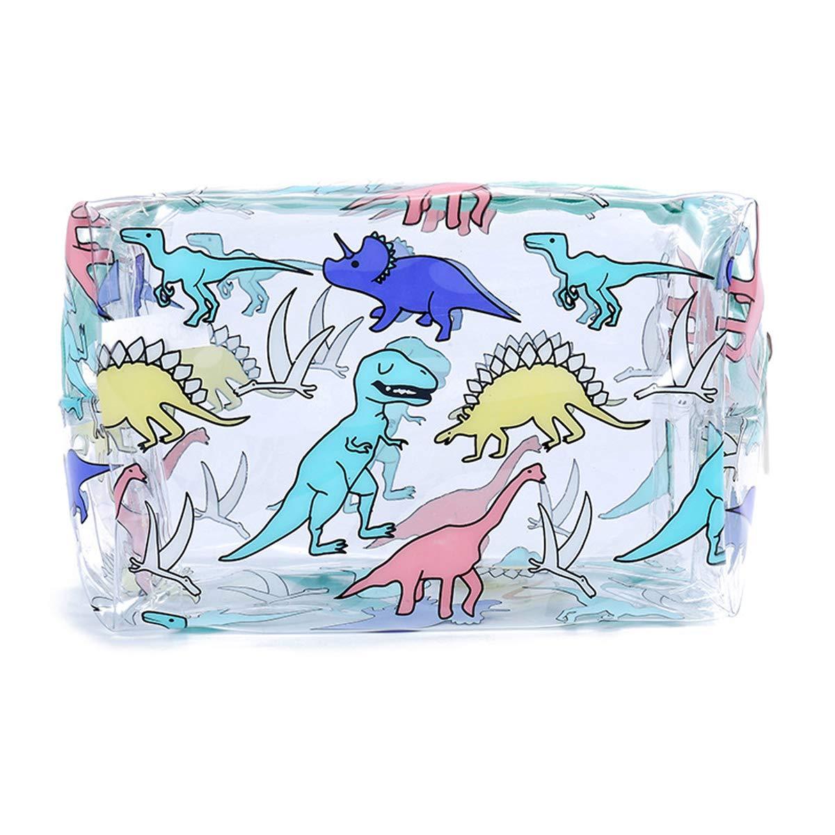 Meetlight Unicorn Transparent Makeup Bag Waterproof Zipper Clear PVC Toiletry Bag Portable Women Travel Cosmetic Bags (Dinosaur Blue)