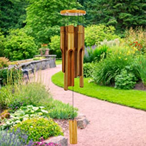 """ASTARIN Bamboo Wind Chimes Outdoor,Wooden Wind Chimes with Melody Deep Tone,30"""" Classic Zen Garden Windchime for Relaxation, Grace.Home Décor for Patio, Garden or Indoor"""