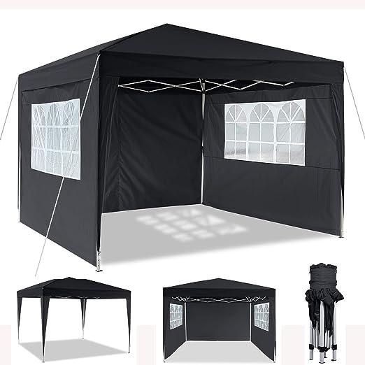 Cenador plegable 3 x 3 m / 3 x 6 m, resistente al agua, para jardín, para fiestas, festivales, gazebo plegable, protección solar (3 x 3 m), color negro: Amazon.es: Jardín